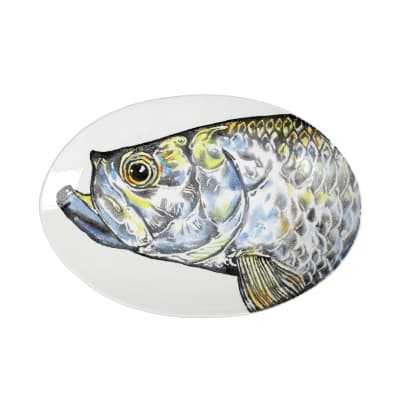 "Vietri ""Pesca"" Tarpoon Shallow Oval Bowl from Italy"
