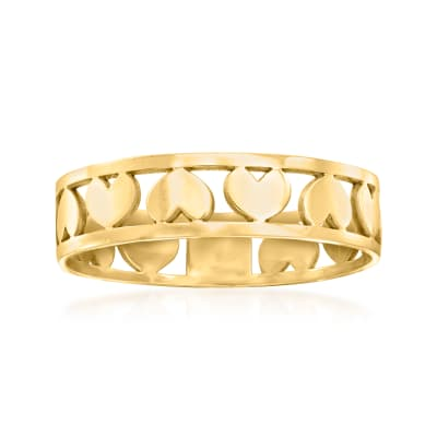 Italian 14kt Yellow Gold Open-Space Heart Ring