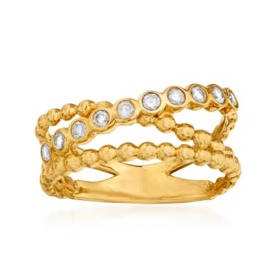 .25 ct. t.w. Diamond Beaded Ring in 14kt Yellow Gold