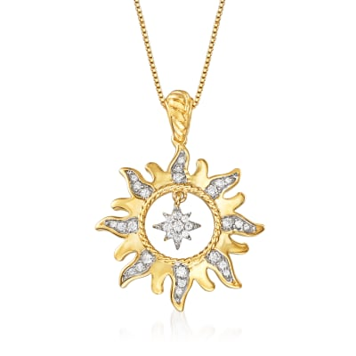 .25 ct. t.w. Diamond Sun with Star Necklace in 18kt Yellow Gold Over Sterling Silver
