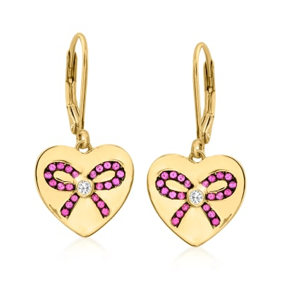 .20 ct. t.w. Simulated Ruby Heart Drop Earrings with CZ Accents in 18kt Gold Over Sterling