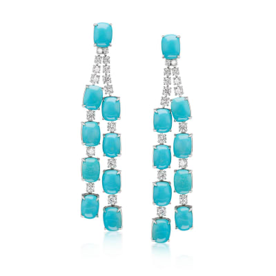 Turquoise and 1.96 ct. t.w. Diamond Drop Earrings in 18kt White Gold