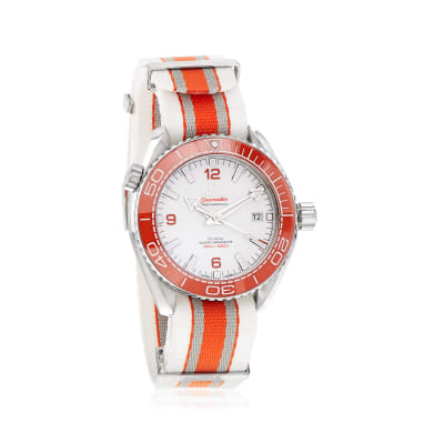 Omega Seamaster Planet Ocean Men's 44mm Automatic Stainless Steel Watch with Gray and Orange Nato Strap