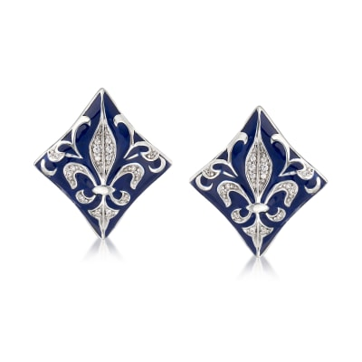 "Belle Etoile ""Josephine"" Blue Enamel and .48 ct. t.w. CZ Earrings in Sterling Silver"