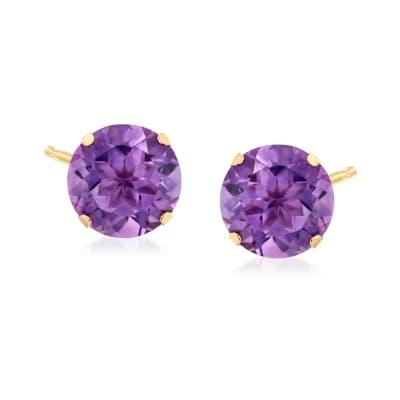 7.25 ct. t.w. Amethyst Stud Earrings in 14kt Yellow Gold