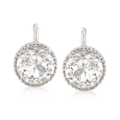 7.75 ct. t.w. White Topaz Earrings with Diamond Accents in Sterling Silver