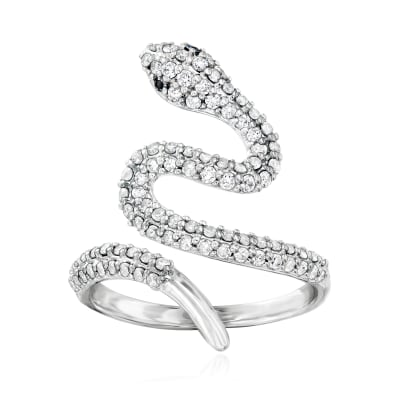 .75 ct. t.w. Diamond Bypass Snake Ring with Black Diamond Accents in Sterling Silver