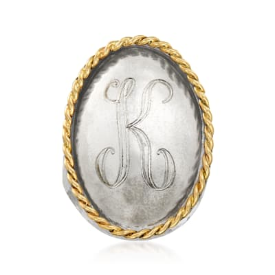 Sterling Silver with 14kt Yellow Gold Single-Initial Ring