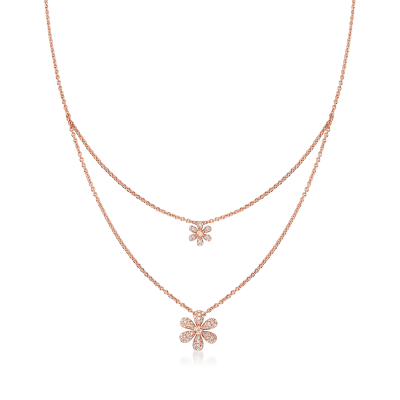 .25 ct. t.w. Diamond Flower Layered Necklace in 18kt Rose Gold