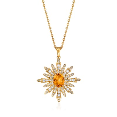 1.85 Carat Citrine and .87 ct. t.w. White Topaz Starburst Pendant Necklace in 18kt Gold Over Sterling