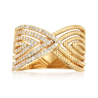 .50 ct. t.w. Diamond Multi-Shape Twist Ring in 18kt Gold Over Sterling