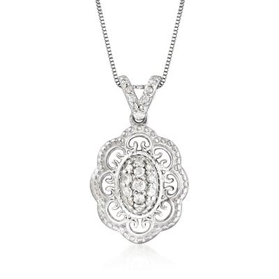 .25 ct. t.w. Diamond Filigree Pendant Necklace in Sterling Silver