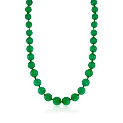 7-14mm Jade Graduated Bead Necklace in 14kt Yellow Gold