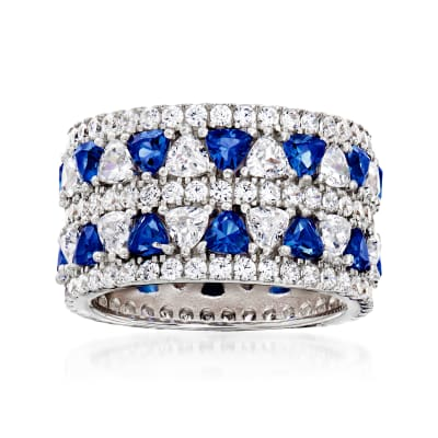 2.70 ct. t.w. CZ and 1.10 ct. t.w. Simulated Sapphire Eternity Ring in Sterling Silver