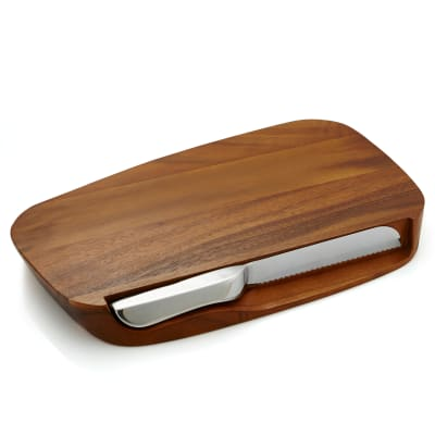 Nambe Acacia Wood Breadboard with Knife