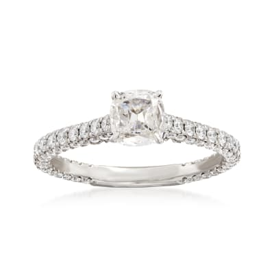 Henri Daussi 1.37 ct. t.w. Diamond Engagement Ring in 18kt White Gold