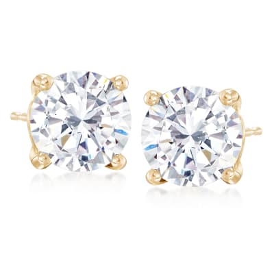 5.00 ct. t.w. CZ Stud Earrings in 14kt Yellow Gold