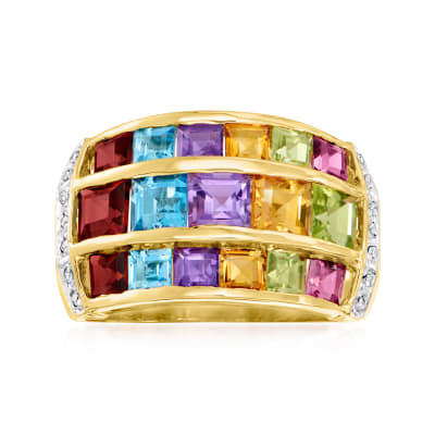 C. 1980 Vintage 4.05 ct. t.w. Multi-Gemstone Three-Row Ring with .10 ct. t.w. Diamonds in 14kt Yellow Gold