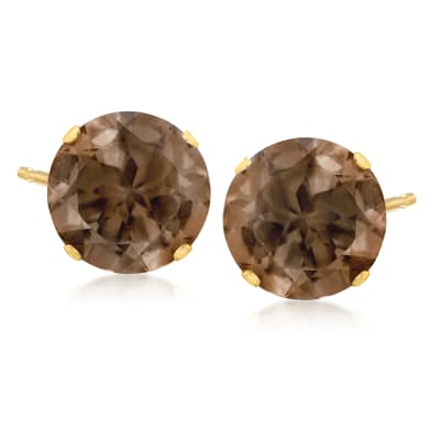 6.70 ct. t.w. Smoky Quartz Stud Earrings in 14kt Yellow Gold
