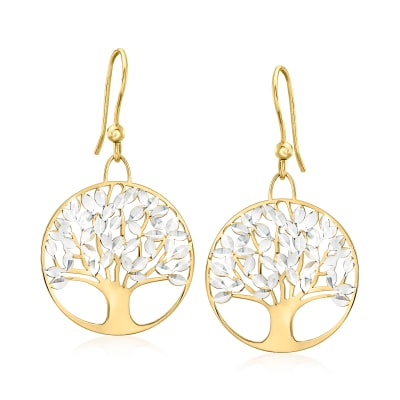 Italian 18kt Gold Over Sterling Diamond-Cut Tree of Life Drop Earrings