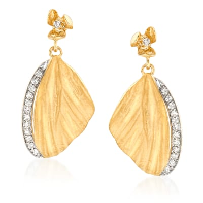 Simon G. .21 ct. t.w. Diamond Butterfly Wing Drop Earrings in 18kt Yellow Gold