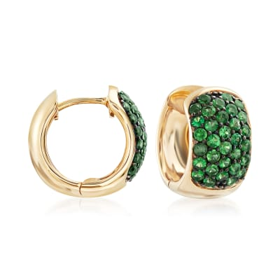 1.20 ct. t.w. Tsavorite Hoop Earrings in 14kt Yellow Gold with Black Rhodium