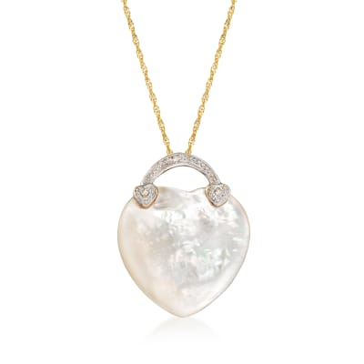 Mother-Of-Pearl and Diamond-Accented Heart Pendant Necklace in 14kt Yellow Gold