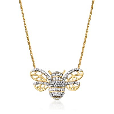 .25 ct. t.w. Diamond Bee Necklace in 18kt Gold Over Sterling
