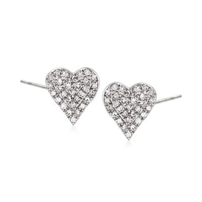 .20 ct. t.w. Diamond Heart Earrings in 14kt White Gold