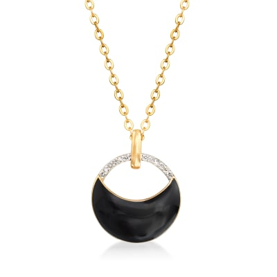 Black Enamel and Diamond-Accented Circle Pendant Necklace in 18kt Gold Over Sterling