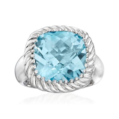 12.00 Carat Sky Blue Topaz Rope Ring in Sterling Silver