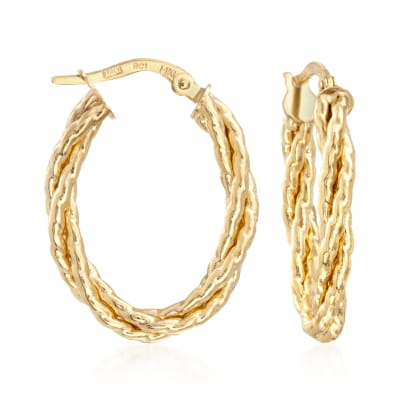 Italian 14kt Yellow Gold Twisted Oval Hoop Earrings