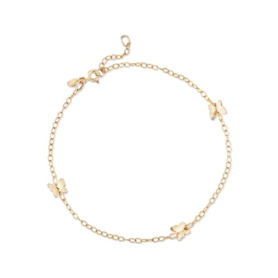 Italian 14kt Yellow Gold Butterfly Station Anklet