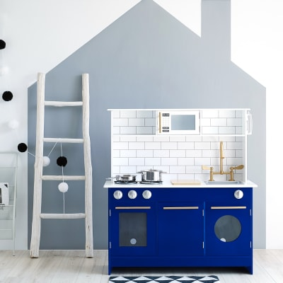 """Child's """"Little Chef Berlin"""" Modern Play Kitchen in White and Blue"""
