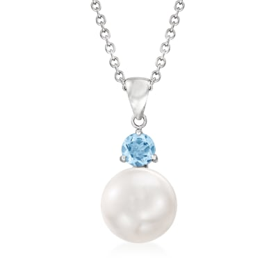 11-11.5mm Cultured Pearl and .80 Carat Swiss Blue Topaz Pendant Necklace in Sterling Silver