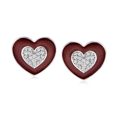 .25 ct. t.w. Diamond Heart Earrings with Dark Red Enamel in Sterling Silver
