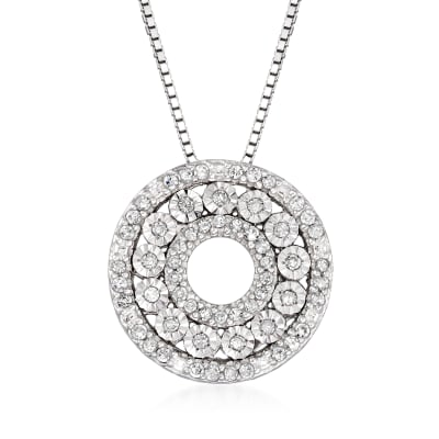 .21 ct. t.w. Diamond Open-Circle Pendant Necklace in Sterling Silver