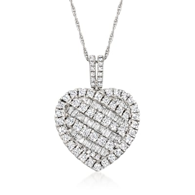 2.00 ct. t.w. Baguette and Round Heart Pendant Necklace in Sterling Silver