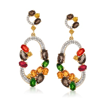 6.90 ct. t.w. Multi-Stone Drop Earrings in 18kt Yellow Gold Over Sterling Silver