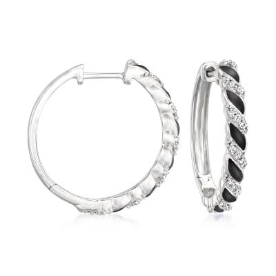 .15 ct. t.w. Diamond and Black Enamel Twisted Hoop Earrings in Sterling Silver