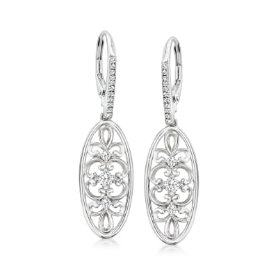 Charles Garnier .43 ct. t.w. CZ Filigree Oval Drop Earrings in Sterling Silver