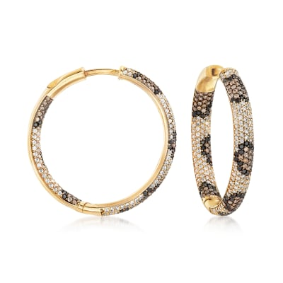 3.23 ct. t.w. Multicolored CZ Leopard Inside-Outside Hoop Earrings in 18kt Gold Over Sterling