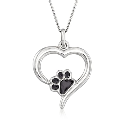 Italian Sterling Silver and Black Enamel Paw Print Open-Heart Pendant Necklace
