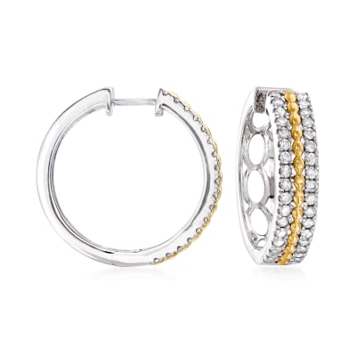 1.00 ct. t.w. Diamond Beaded Hoop Earrings in Sterling Silver and 14kt Yellow Gold