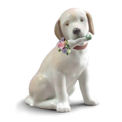 "Lladro ""This Bouquet is for You"" Dog Porcelain Figurine"