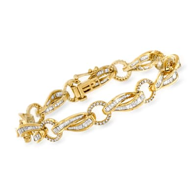 3.00 ct. t.w. Baguette and Round Diamond Twisted-Link Bracelet in 18kt Gold Over Sterling