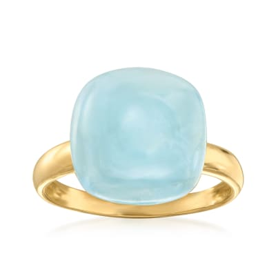 9.00 Carat Milky Aquamarine Ring in 14kt Yellow Gold