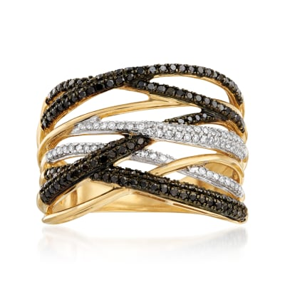 .50 ct. t.w. Black and White Diamond Highway Ring in 14kt Yellow Gold