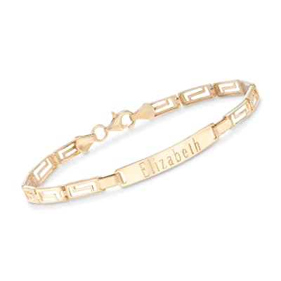 14kt Yellow Gold Personalized Greek Key Bar Bracelet
