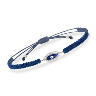 .33 ct. t.w. CZ Evil Eye and Blue Macrame Bracelet with Enamel in Sterling Silver